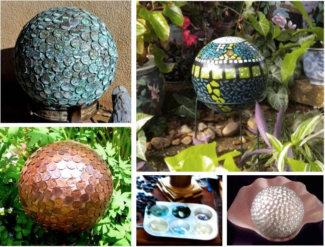 design wizards garden spheres orbs and gazing balls, crafts, gardening, repurposing upcycling, Penny balls take about 10 in pennies and should be painted a copper color so you don t have to do two layers
