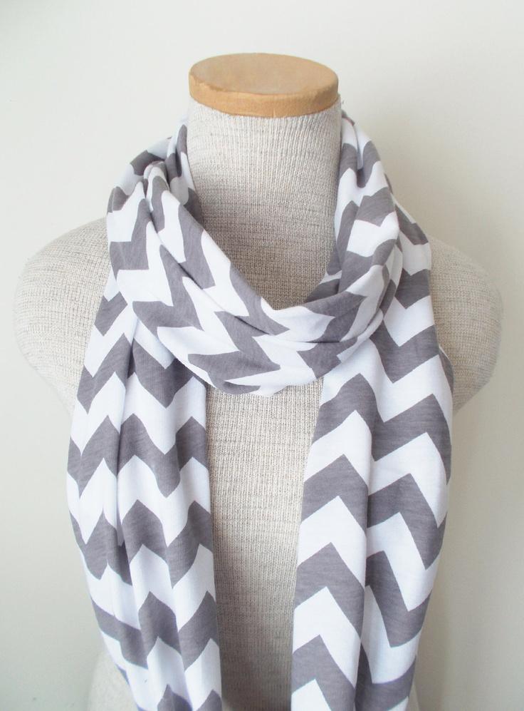 Grey and White Chevron Infinity Skinny Scarf - Jersey Knit. $20.00, via Etsy.