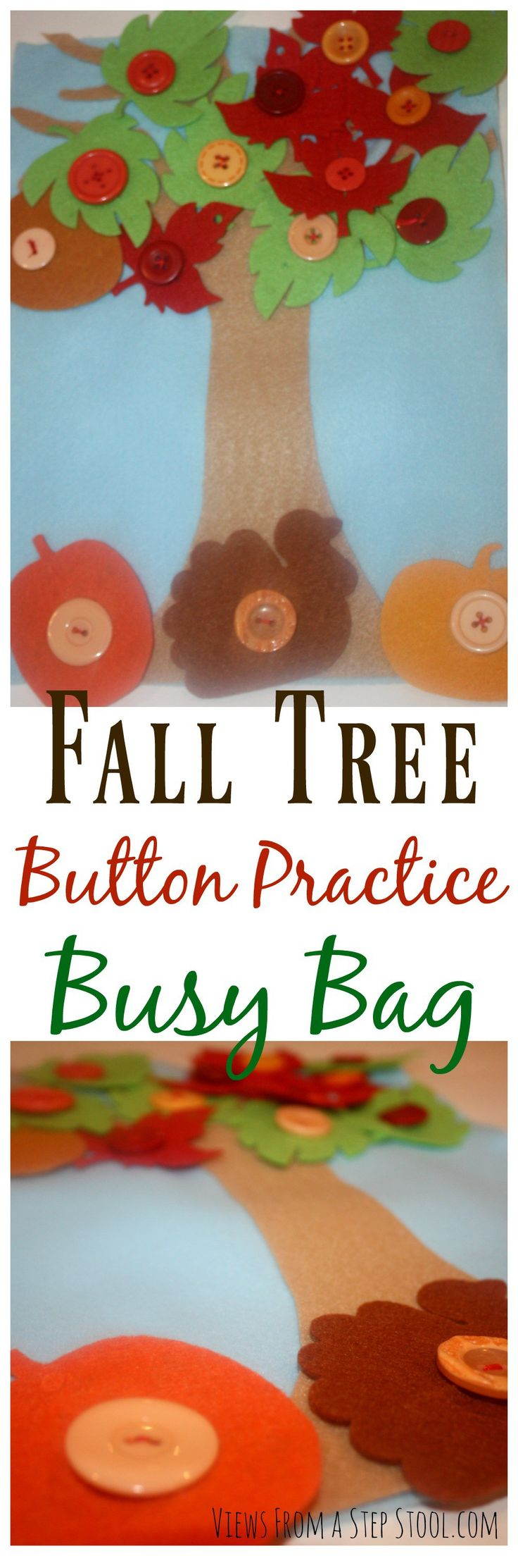 This button practice busy bag is themed for the fall with leaves