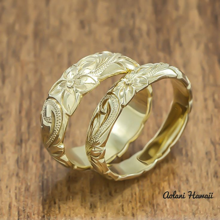 Gold wedding ring set of traditional hawaiian hand for Hawaiian wedding ring sets