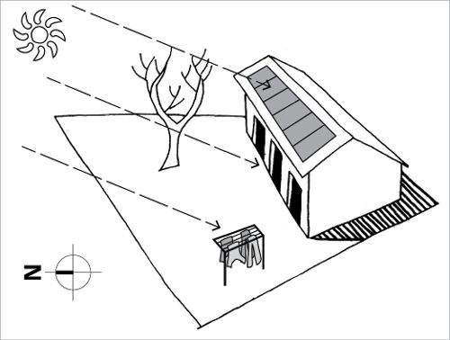 A house faces north with a deciduous tree in the northern yard so that winter sunlight can reach solar panels on the roof, front windows and a clothes line in the front yard.