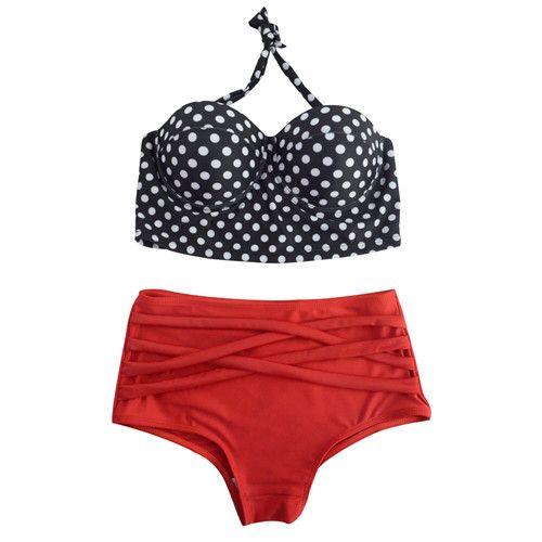 Women's Retro Pinup Rockabilly Sexy High Waist Push Up 2 PC Bikini Bathing Suit S-XL