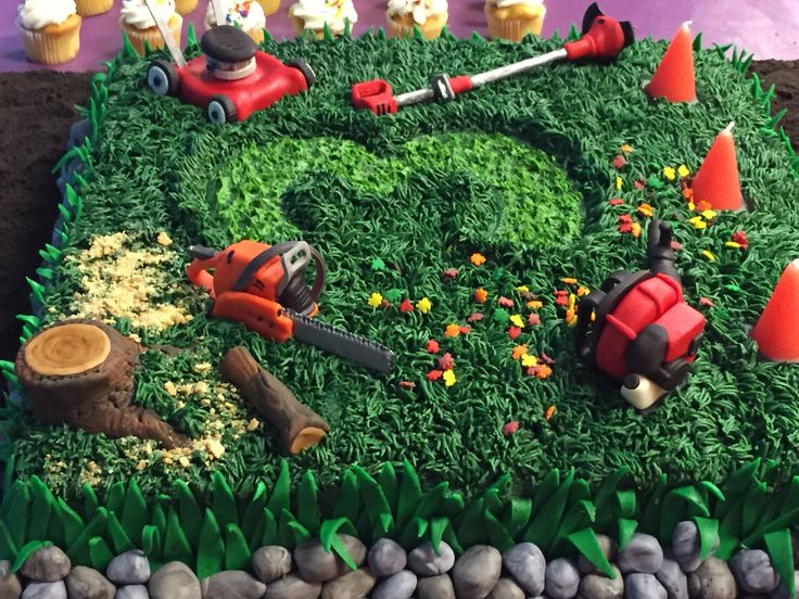 Landscaping Tools Birthday Cake This is the cake that I made for my son's 3rd birthday. He wanted a lawn mower/landscaper theme. The...