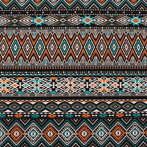 """Coral Teal Blue Aztec Stripe Ponte De Roma Knit Fabric - Big ethnic design with diamond triangles in coral orange, teal blue green, beige, black on a white color super soft Ponte De Roma knit.  Ponte de Roma fabric is a thicker medium weight and has a nice stretch, excellent drape, and great recovery.   Fabric has a subtle horizontal texture.  Amazing designer fabric great for maxi skirts, dresses, tops, and more!  Diamond measures 5 3/4"""".  ::  $6.50"""