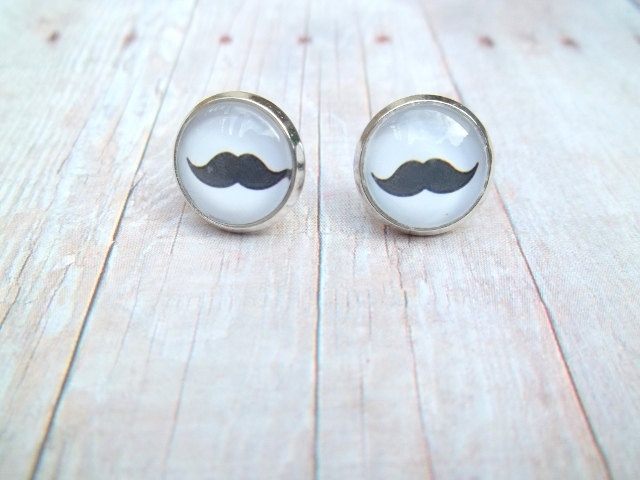 S T A C H E - Black and White Mustache Photo Glass Cab Circle Silver Post Earrings