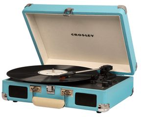 """Cruiser Deluxe Bluetooth Record Player. Wooden and vinyl record player Features a suitcase style shell Advanced pitch control adjustments Easily sync to the Bluetooth connection and stream digital music Built-in speakers Portable turntable Belt driven turntable mechanism Plays three speeds 33 1/3, 45 and 78 RPM records Auxiliary input RCA ports Headphone jack Stereo sound 12-V external power adapter (adapter included) Measurements: 14"""" W x 10.5"""" D x 4.75"""" H. #ad"""