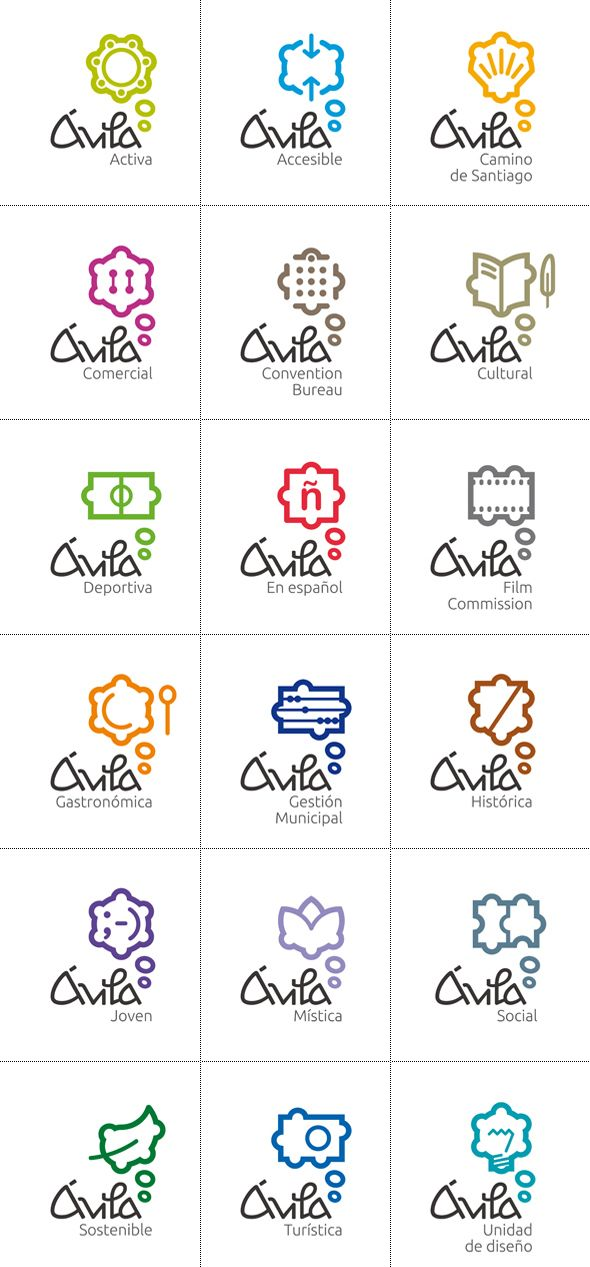 """Ávila"" city ... logo series for different sectors or tourism offerings"