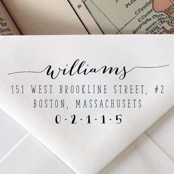 Custom Calligraphy Stamp Wedding Stationary Wood Engraved Address