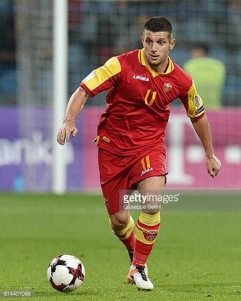 Fatos Beciraj of Montenegro in action during the FIFA 2018 World Cup Qualifier between Montenegro and Kazakhstan at Podgorica City Stadium on October...