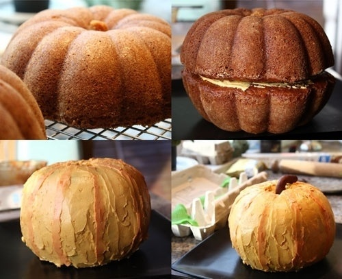 Great Pumpkin Cake: Two Bundt cakes together' —     MIX THE CAKE OF YOUR CHOICE...  COOKE IN A BUNDT CAKE PAN  FROSTING COLOR IT ORANGE IF NECCESARY