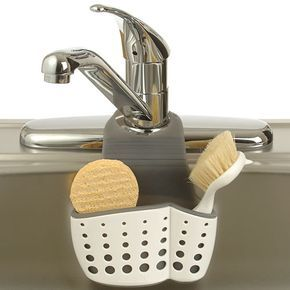 Keep your dish washing brushes sponges and scrubs organized and clean when you store them in this Adjustable Dish Brush and Sponge Holder.