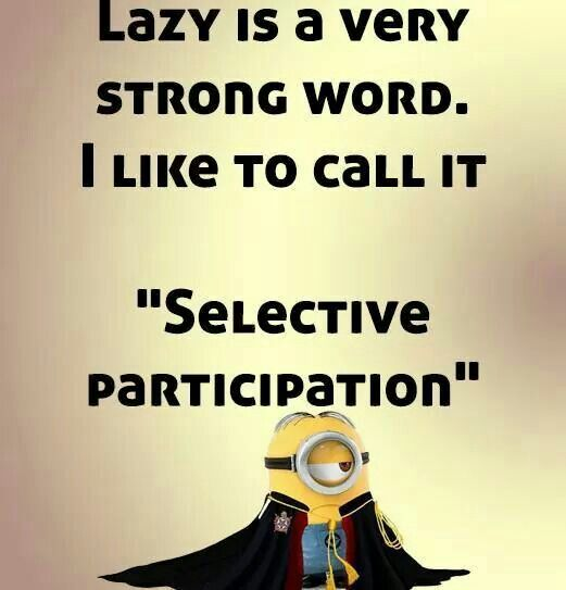 """Lazy is a strong word. I like to call it """"selective participation""""."""