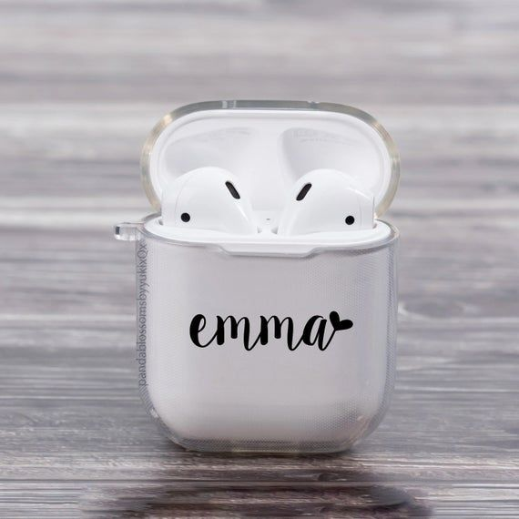 Personalized Heart Name Clear Shock Proof Airpod Case For Etsy Airpod Case Personalized Heart Apple Accessories