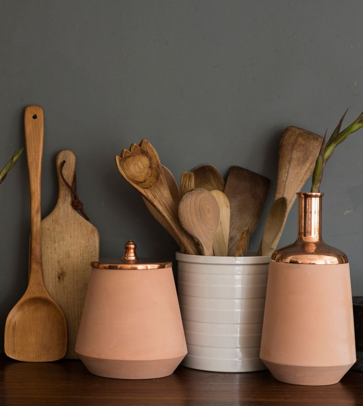 The Tunisia Made collection vessels is made from natural clay and spun copper, etched by hand.