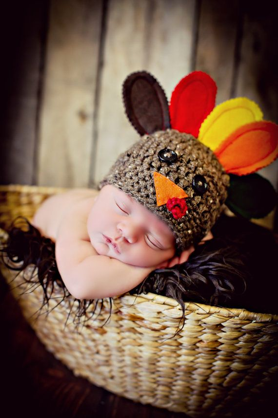 So. Stinkin. Cute.   Newborn Photo Prop Baby Turkey Hat. Awesome for a November baby. :)