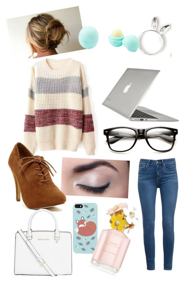"""""""journalist outfit :)"""" by meadia-outfits ❤ liked on Polyvore featuring Paige Denim, Speck, Boohoo, Marc Jacobs, MICHAEL Michael Kors, Eos, women's clothing, women, female and woman"""