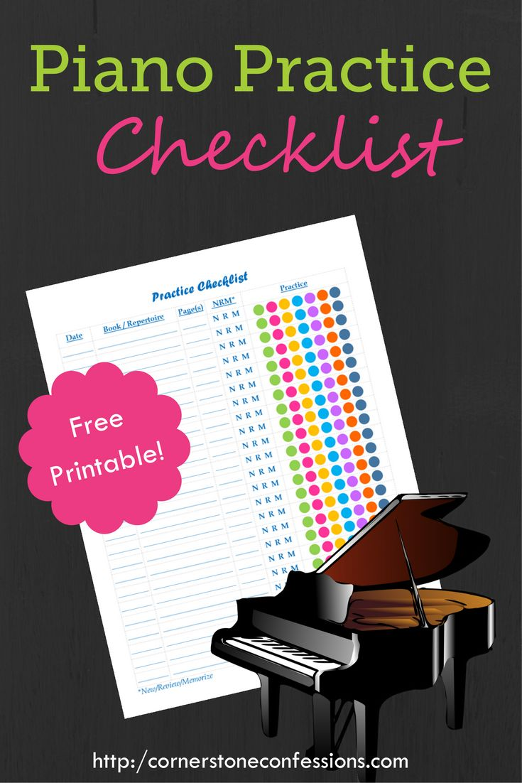 Piano Practice Checklist Printable--You could actually use this for any type of music practice.