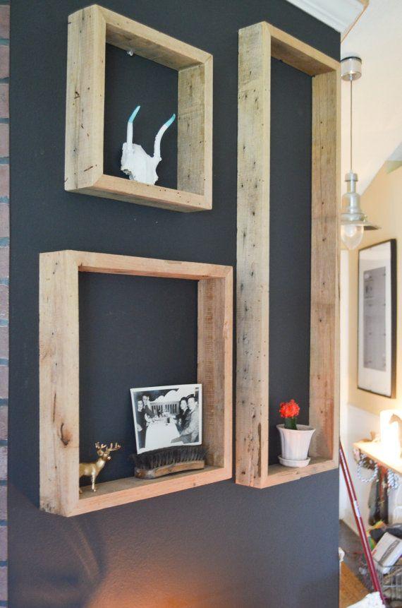 étagères en bois façon cadres