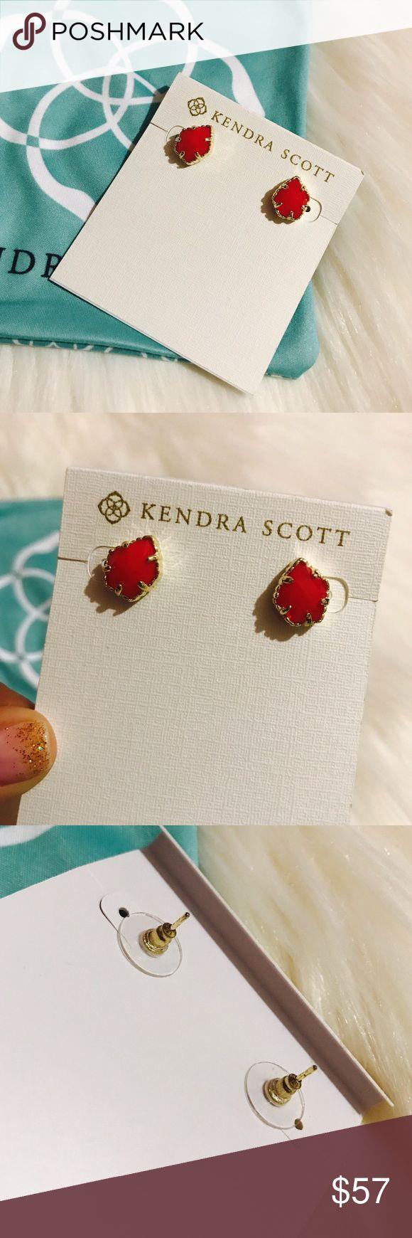 Kendra Scott Red Tessa Studs Semi translucent. No trades. No outside sales. Kendra Scott Jewelry Earrings
