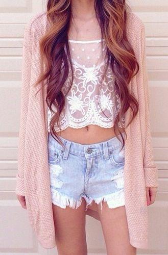 Lace Crop Top, Jeans Shorts