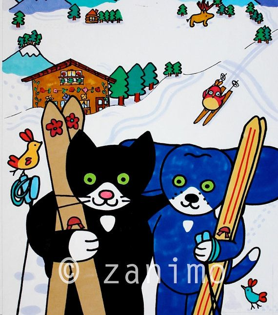 Gofrette and Blue ski buddies taken from the original by Zanimo, $20.00