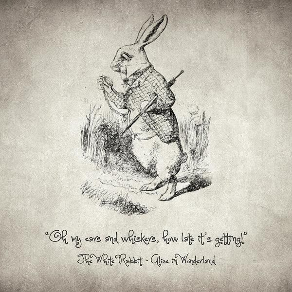 White Rabbit Picture Vintage Dictionary Print Wall Art Alice In Wonderland Quote