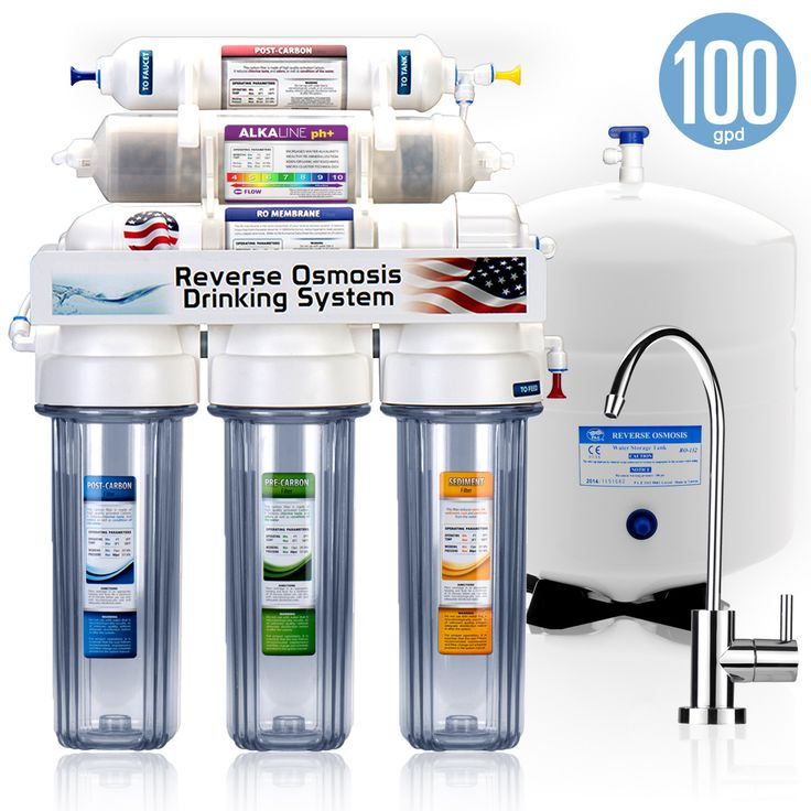 ROALK10MC - Express Water 8 Stage Alkaline Antioxidant Reverse Osmosis Home Drinking Water Filtration System - 100GPD - CLEAR - MODERN - ROALK10MC