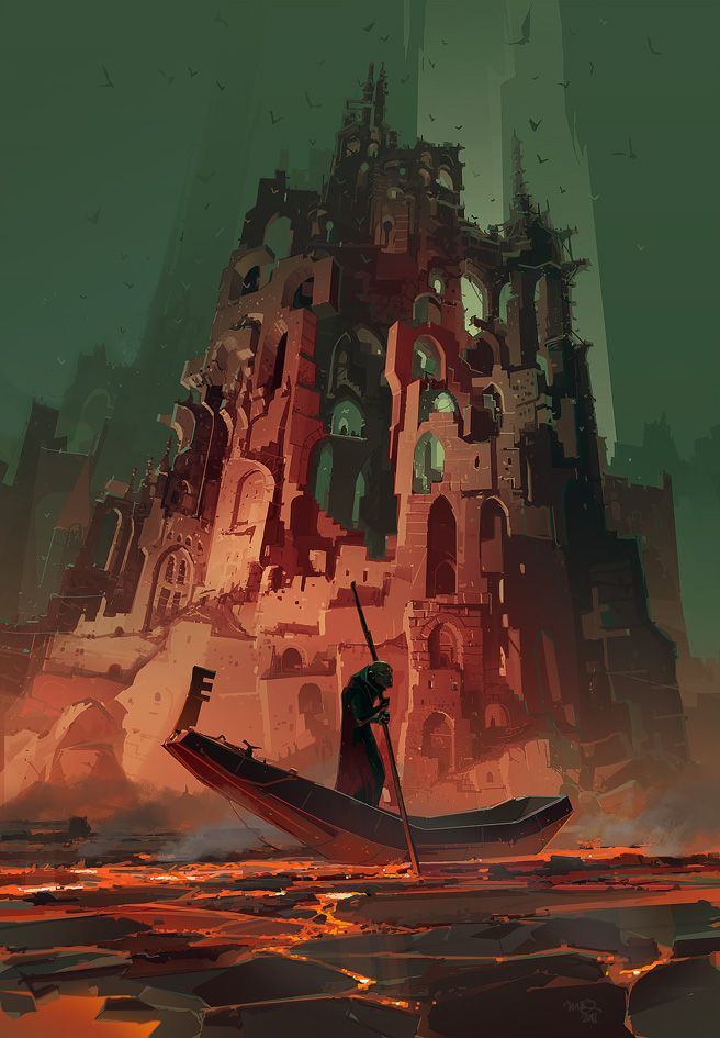Ian McQue | Cover illustration for the upcoming book 'Damnation For Beginners' by Alan Campbell, published by Subterranean Press.