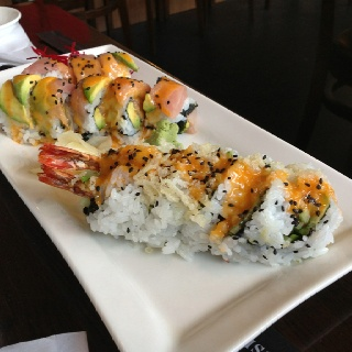 Ocean breeze roll (negitoro and avocado, sliced tuna, avocado on top with chilli mayo sauce) and the Crunchy go-go roll (double prawns and yam tempura, avocado, crunchy flake, chilli mayo).