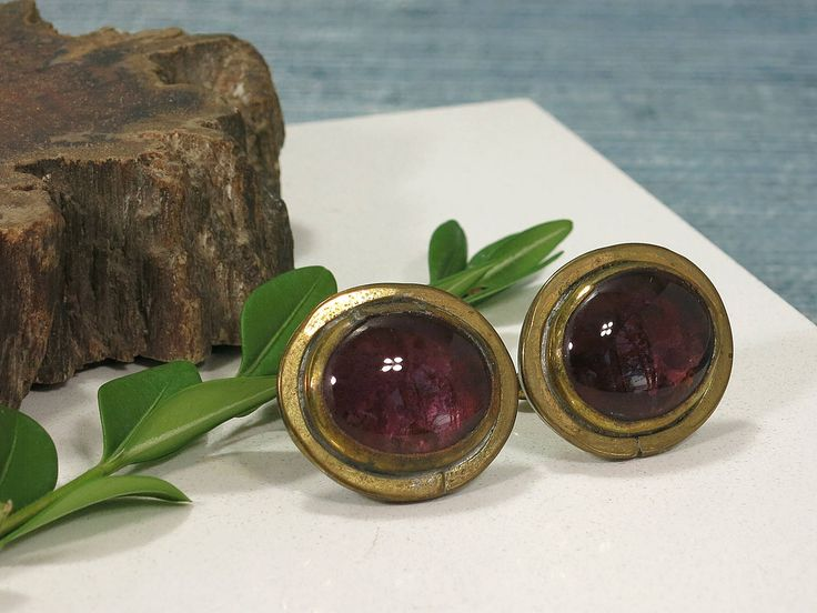 Rafael Canada Brutalist Cuff Links - Rafael Alfandary Cufflinks - Brass and Purple Glass Modernist Cuff Links - Plum Aubergine - 1970s by EightMileVintage on Etsy