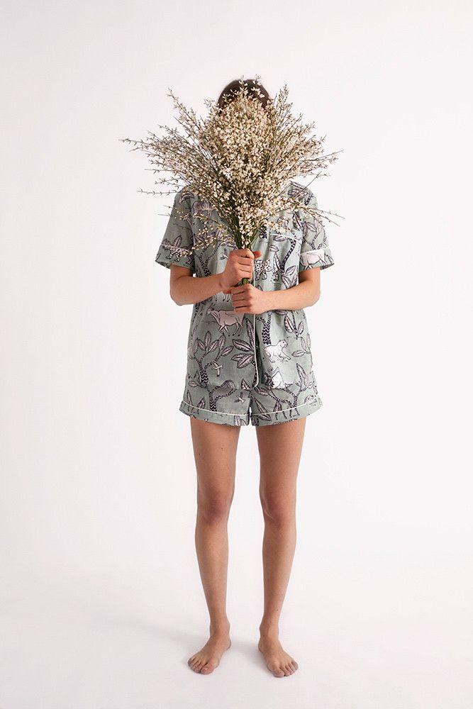 Serengeti Safari Print   Short Sleeve Luxury Cotton Womens Pyjama Set - Sage Green