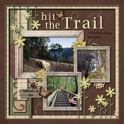 Used In the Forest kit by Linsay Jane- Love the frames. Like this layout for the pics of Brian & I by the train tracks.