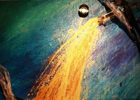 La carta delle acque (oro colato) Massimo Dell'Armi #pittoricontemporanei
