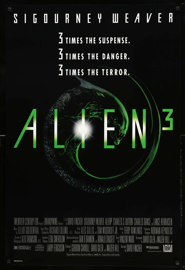 "Film: Alien 3 (1992) Year poster printed: 1992 Country: USA Size: 27""x 40"" This is an original, unfolded one-sheet poster from 1992 for Alien 3 starring Sigourney Weaver, Charles S. Dutton and Lance H"