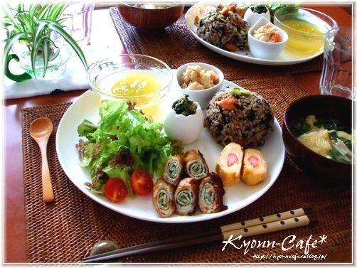 お友達が、[Kyonn-Cafe*]へランチを食べに来てくれました~♪お弁当のおかずを多目に作っておいて、ワンプレートで盛付けて・・☆和のワンプレートラン...