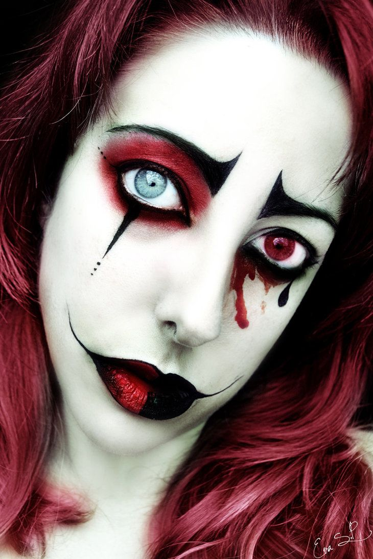 naughty harlequin clown costume red contacts halloween makeup and harley quinn. Black Bedroom Furniture Sets. Home Design Ideas