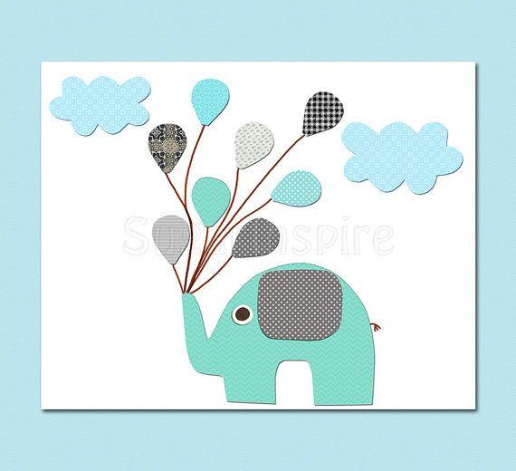 aqua and grey and teal elephant nursery Art Print by SugarInspire, $14.95