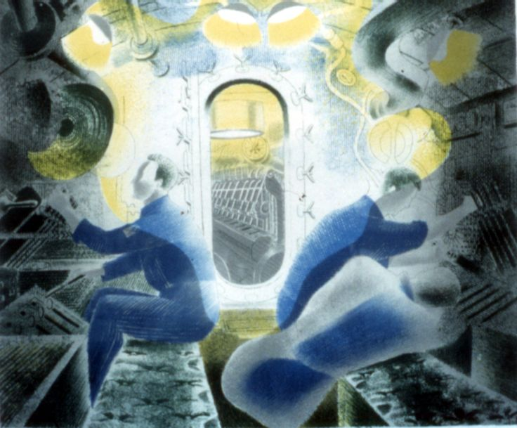 """The Submarine Seres: """"The Engine Room"""" by Eric Ravilious, 1941"""