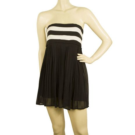 Alice + Olivia Black & White Silk Strapless Long Top or Super Mini Dress size XS