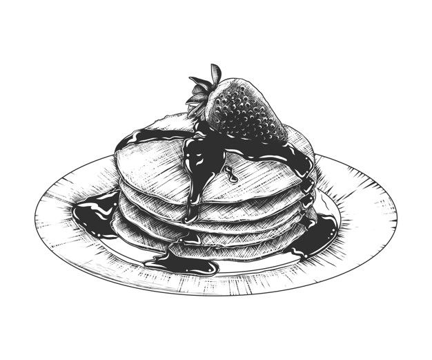 Hand Drawn Sketch Of Pancakes On The Pla Premium Vector Freepik Vector Logo Post Food Drawing Sketches Pencil Black And White Art Drawing Food Drawing