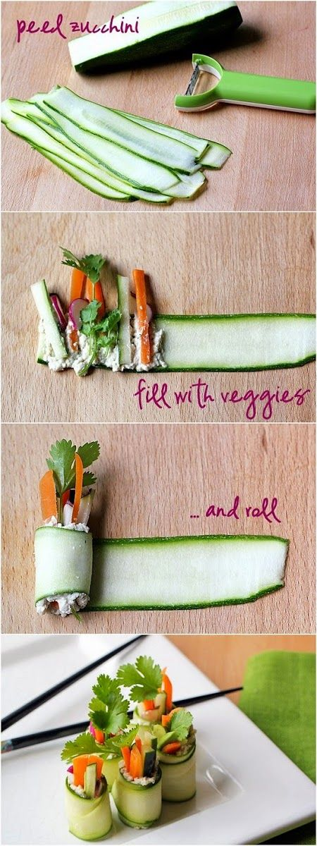 Zucchini 'sushi' rolls . . . #Zucchini, #sushi, #Strawberries, #Strawberry, #Rolls,