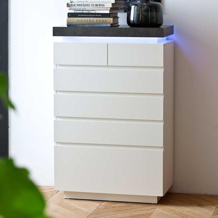 Design Kommode Mit Dimmbarer Beleuchtung Weiss Grau Jetzt Bestellen Unter Moebelladendirektde Wohnzimmer Schraenke Kommoden Uid1cbab594 C45b