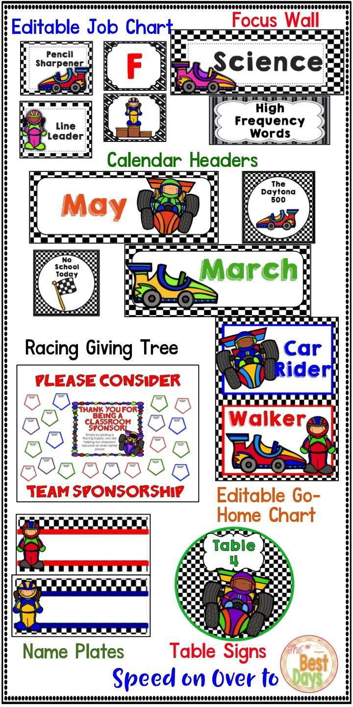 Are you racing into a new classroom theme?  Check out all of these great racing themed products!  Race cars and boy and girl drivers are found throughout!  Print and go!  Race on over to The Best Days to grab them now!