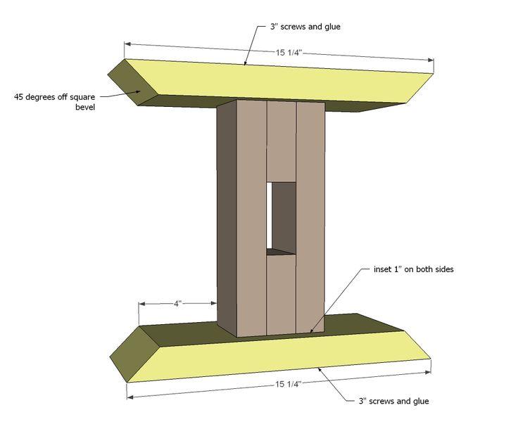 Ana White Build a Triple Pedestal Farmhouse Bench