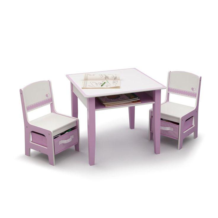 Toddler Playroom Table Set Kids 3 PC  Storage Chairs Activity Bedroom Furniture  #DeltaChildren