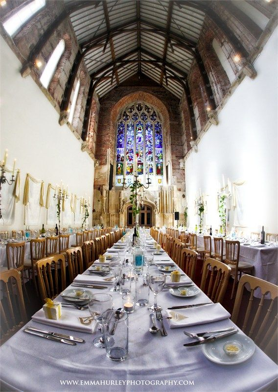 Banquet style dining in the Great Hall at Highcliffe Castle