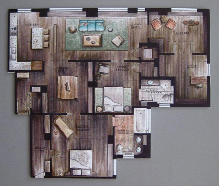 Hand rendering interiors google search rendering for Rendered floor plan