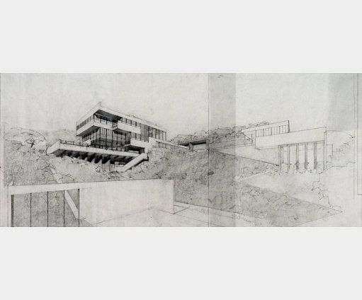 """As seen in a perspective drawing by Neutra, the 1927-29 Lovell """"Health"""" House in Los Angeles came to exemplify the International Style. It was the most famous building of his career.  Architectural Digest"""