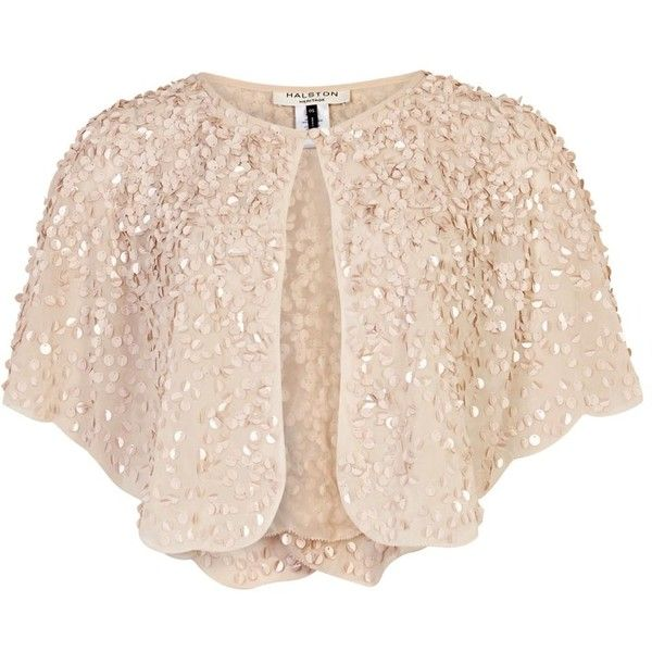 Womens Smart Jackets Halston Cream Sequinned Cropped Cape Jacket (276.490 CLP) ❤ liked on Polyvore featuring outerwear, jackets, tops, cardigans, pink jacket, pink cropped jacket, pink sequin jacket, sequin cape and pink cape coat