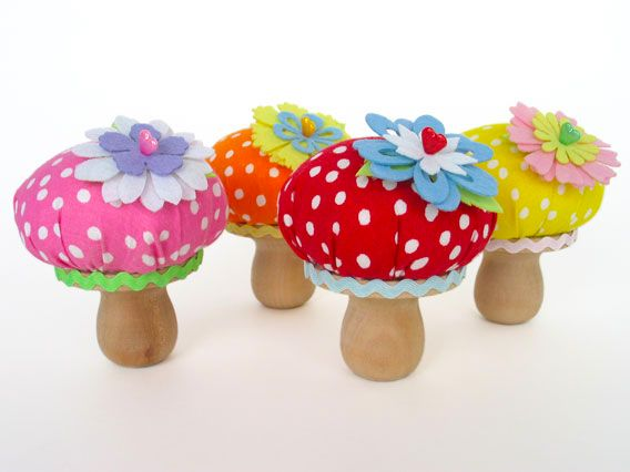 "Mushroom Pincushion*Polka Dot Fabric  2 1/4"" Diameter Wood Disc  1 1/2 "" Wood Candle Cup Holder  Mini Ric Rac   Hot Glue or Craft Glue  Wool Roving for Stuffing"